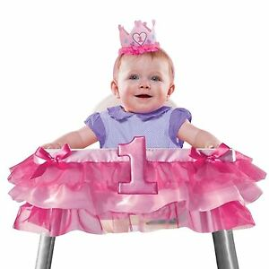 Girls-Baby-Girl-Number-One-First-1st-Birthday-Pink-High-Chair-Decor-Bows-Pretty