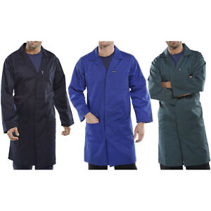 Click-Polycotton-Lab-Warehouse-Coat-Overall-Work-Smock-Navy-Royal-Blue-Green-New