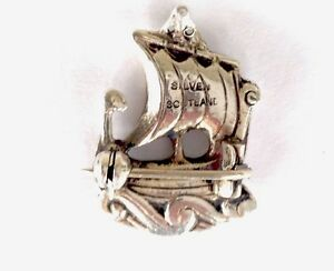 VINTAGE-SMALL-CHUNKY-SCOTTISH-SILVER-LONG-BOAT-SHIP-BROOCH