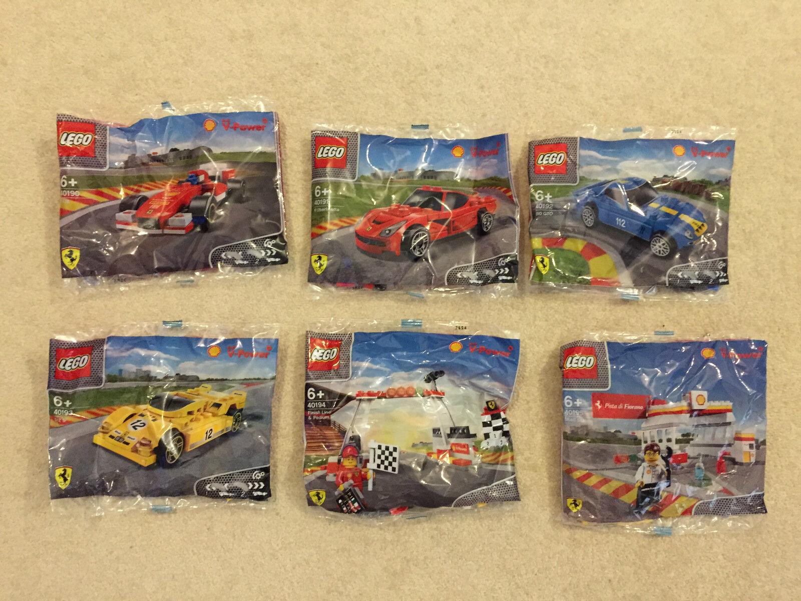 Shell Lego Ferrari Toy Model Cars Set Of 6 NEW 40190-40195 LOOK