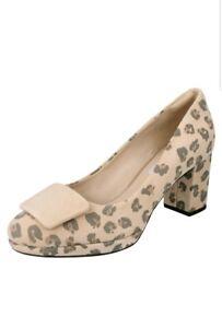 Suede Animal Court Ladies Print Clarks Heel Gem Leopard Shoes 6 Kelda 5 qwptn