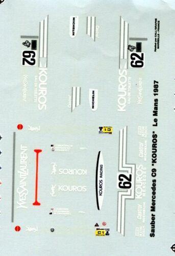 MERCEDES SAUBER C9 KOUROS N°62 LE MANS 1987  STARTER  DECALS 1//43