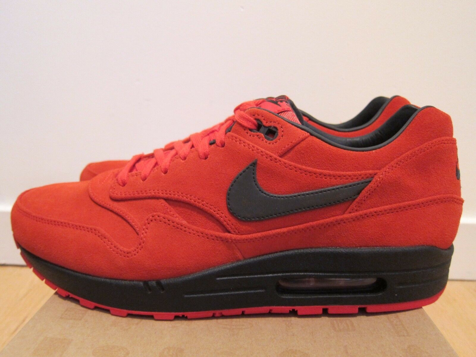 2012 Nike Air Max 1 PRM Premium Pimento Red Black 3M sizes 10 11.5 13 14
