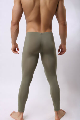 Men/'s Tight Slim Fitness Underwear Bulge Pouch Long Pants Trousers Smooth Pants