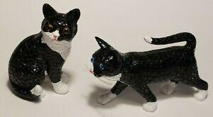 Barcino Tuxedo Cats Pair Set of 2 Hard to Find Rare Black&White Mosaic Kittys