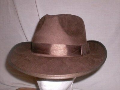 Adulto Similpelle Scamosciata Marrone Costume Cappello Fedora Gangster