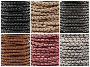 """Genuine Round Bolo Braided Leather Cord 3 MM 1//8/"""" DIY Craft Jewelry Supplies"""