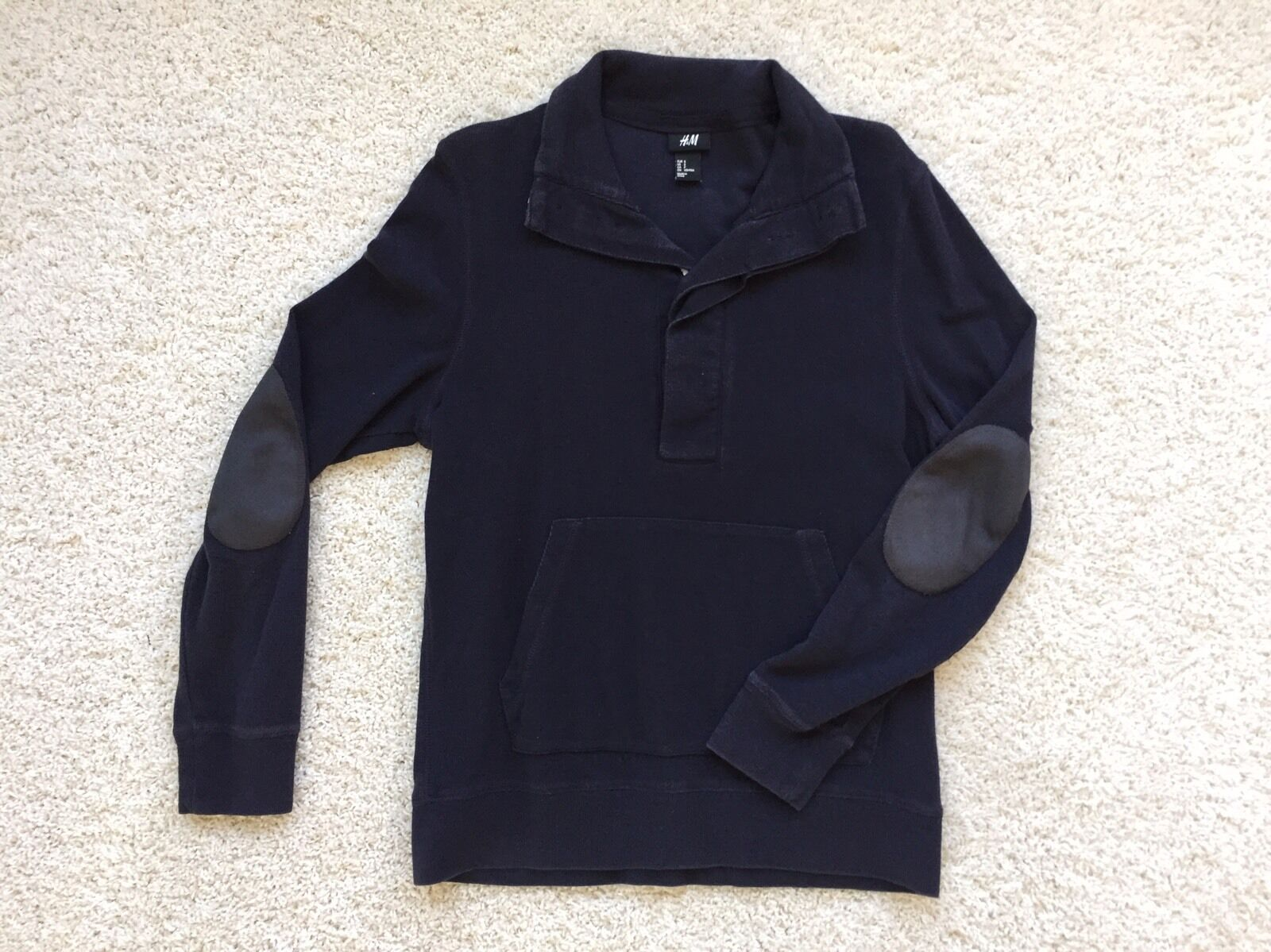 H&M Hunting Sweater With Big Collar w  elbow Pads Navy Small