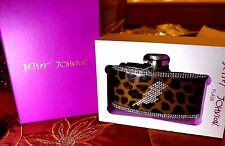 RHINESTONE LEOPARD 3 OZ STAINLESS STEAL BETSEY JOHNSON FLASK MINT IN GIFTBOX