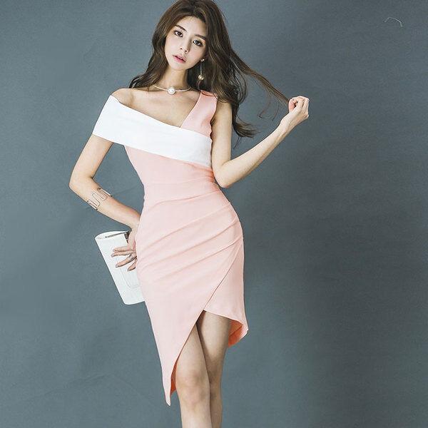 Dress long dress sheath dress pink pink pink white mode slim élégant soft 4612 b9e4c8