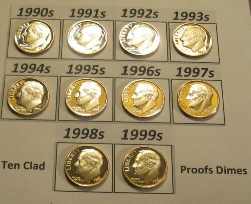 Complete Set of 10 1990/'s Clad Cameo Proof Roosevelt Dimes 1990-S to 1999-S