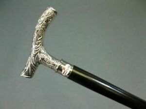 NEW-SILVER-POLISHED-BEST-FOR-GIFT-BRASS-SOLID-VINTAGE-WOODEN-WALKING-CANE-STICK