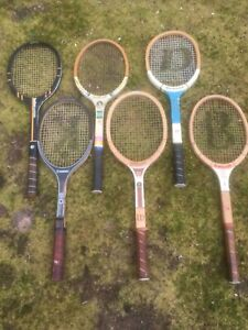 6 Vintage Approx. 1970s Wooden Tennis Rackets, some Signature Players