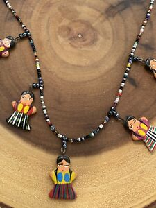 Painted Wood and Seed Beads