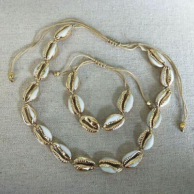 Adjustable Rope Natural Cowrie Sea Shell Choker Necklace Bracelet Set DIY Beach