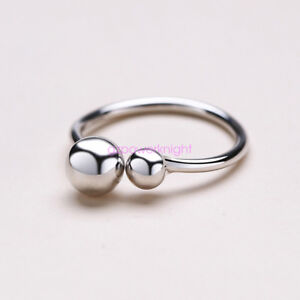 925-Solid-Sterling-Silver-Adjustable-Open-Band-finger-Ring-Ladies-Statement-Bead
