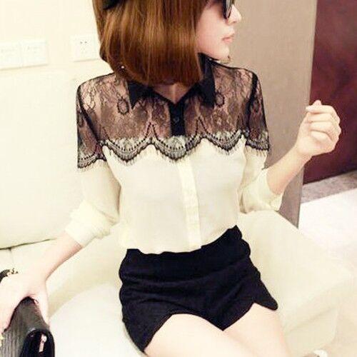 Women's Vintage Lace Long Sleeve Button Chiffon Splicing T-shirt Blouse Tops O
