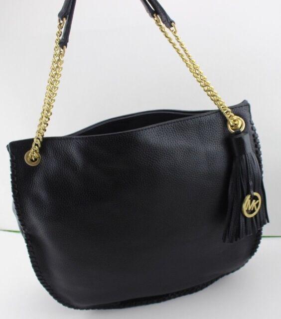 New Authentic Michael Kors Whipped Chelsea Black Handbag Lg Tz Shoulder Bag