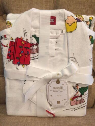 Pottery Barn Teen PEANUTS PAJAMAS Small Snoopy Charlie Brown Christmas NWT
