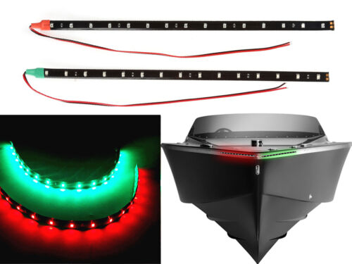 """Bow LED 12/"""" Submersible Red Green Navigation Light Waterproof Marine Boat"""