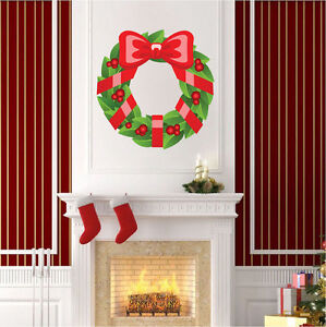 Wreath-Wall-Decal-Winter-Decor-Christmas-Wall-Clings-Front-Door-Art-Vinyl-h35