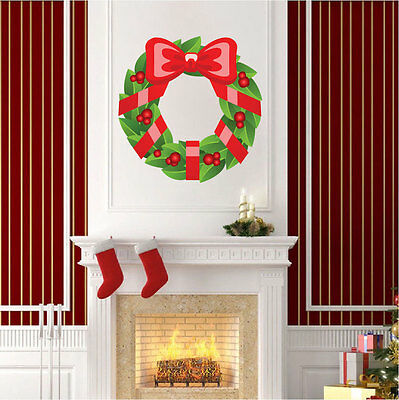 Wreath Wall Decal Winter Decor Christmas Wall Clings Front Door Art Vinyl h35