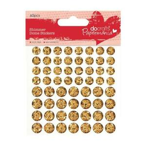 60 x Papermania Gold Shimmer a Cupola Adesivi Scrapbooking Abbellimenti Crafts
