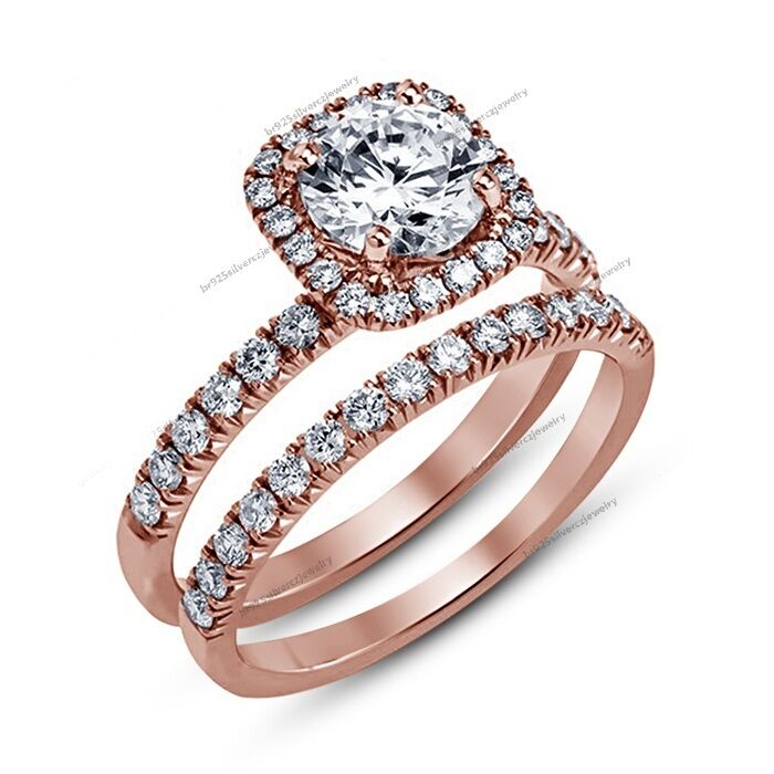 Ladies 2.00 CT Round D VVS1 Diamond Wedding Bridal Ring Set 14K pink gold Finish