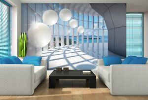 Wall Mural Photo Wallpaper Fleece 3D Perspective Tunnel white poster ...