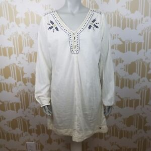 Southern-Thread-Size-Large-Floral-Embroidery-Tunic-Dress-Long-Sleeve-Hippie