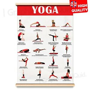 yoga poses poster exercise chart yoga instruction  a4 a3