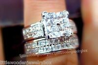 Princess Cut White Sapphire Engagement Ring Bridal Set 925 Silver 14k White Gold