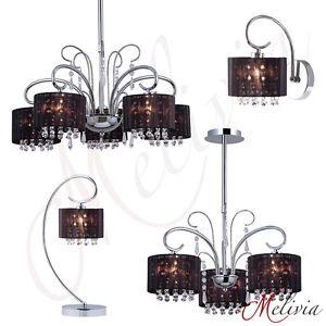 Lampe Suspendue Applique Murale De Table Noir Cristal Tissu Chrome