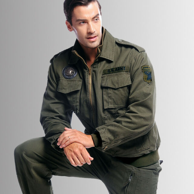 New Men's Army Air Force Military Jacket Collar Bomber Coat Outwear Green