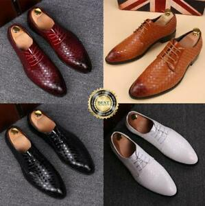 Men-039-s-Oxfords-Lace-up-Flats-Leather-Shoes-Dress-Formal-Wedding-Business-Shoes