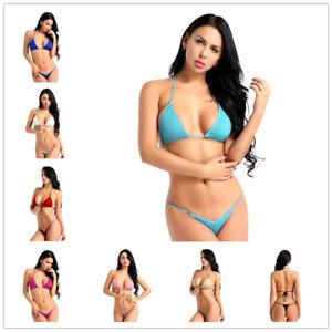 0da2e037b63ca Hot Womens Halterneck Bra Tops +G String Briefs Bikini Set Swimwear ...