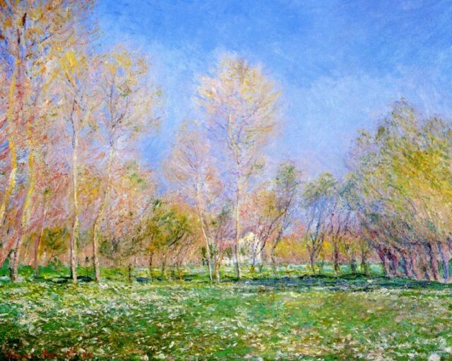 SPRING IN GIVERNY 1890 FRANCE BLUE SKY TREES PAINTING BY CLAUDE MONET REPRO