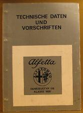 Alfa Romeo * Alfetta * Typ 116 * Klasse 1600 * Technische Daten und Vorschriften