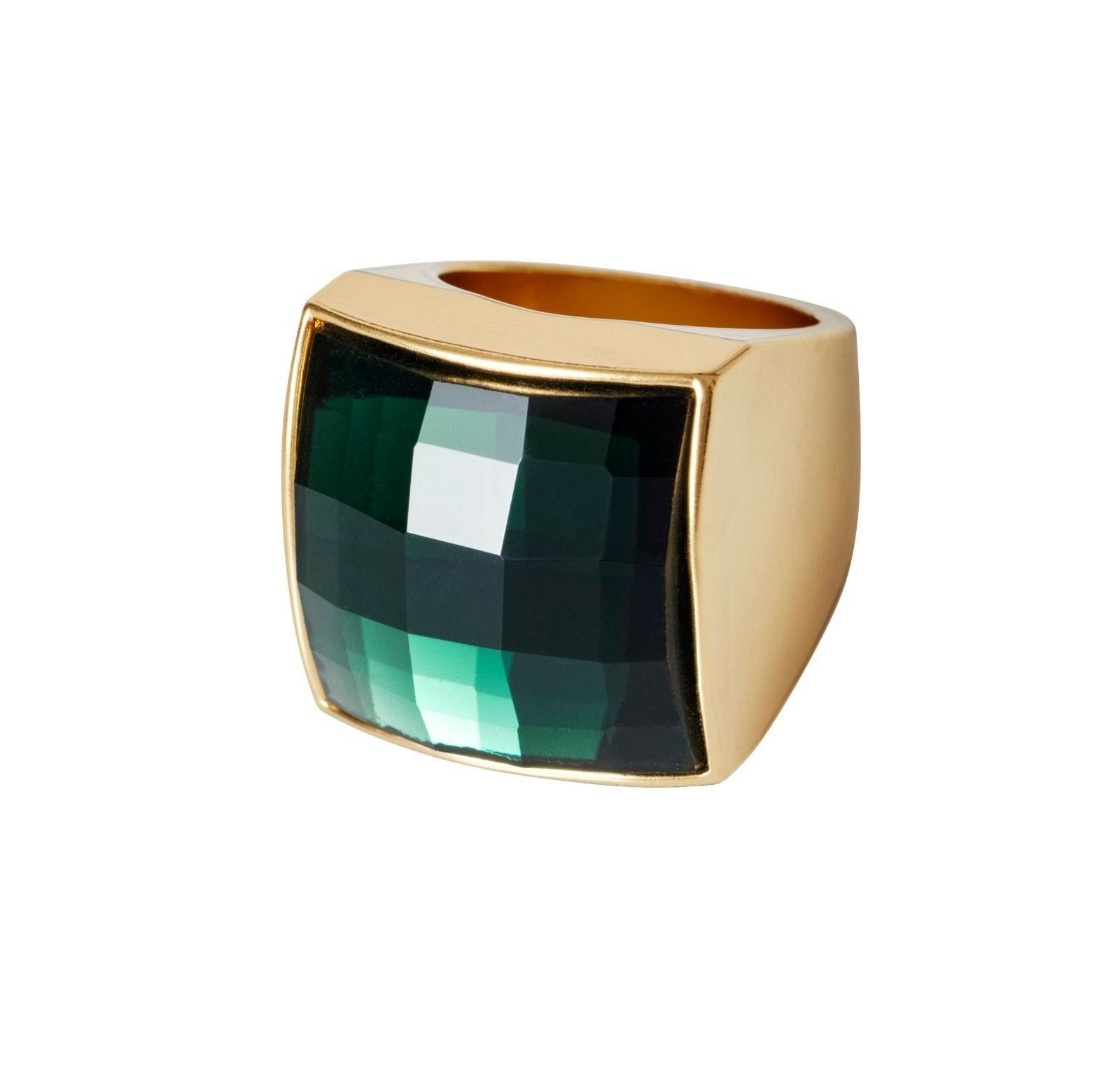 NWT Balmain x H&M goldtone Emerald Green Clear Crystal Glass Stone Ring XS S