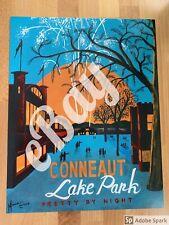 ?Pretty by Night? Conneaut Lake Park Travel Poster, Amusement Park, Pennsylvania