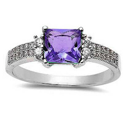 .925 Sterling Silver Princess Cut Amethyst & Cz Ring Sizes 5-10