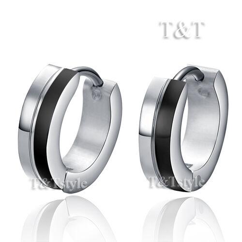 T/&T Stainless Steel Top Ear Hoop Earrings Silver//Black  EK01