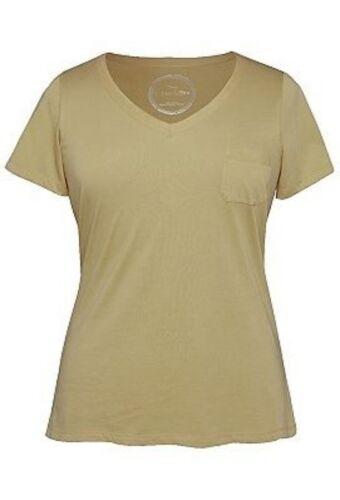 NEW The Avenue STRETCH Sweet V-Neck Soft Tagless Pocket Slimming T-Shirt Top