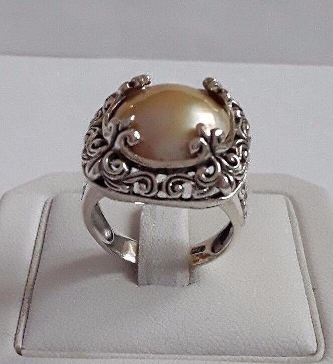 AGNES CREATIONS ANILLO SUBLIME women EN silver 925 PERLA ADORNADA GIGANTE