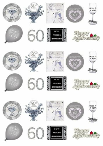 27 Stand Up 60th Diamond Wedding Anniversary Edible Wafer Paper Cake Toppers