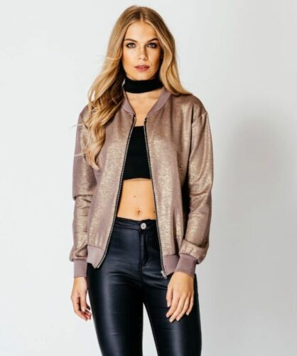 NEW WOMENS LADIES LONG SLEEVE STRETCH MA1 BIKER METALLIC FOIL BOMBER JACKET COAT
