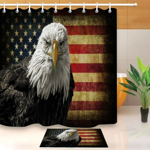 72x72/'/' Bathroom Waterproof Shower Curtain American Bald Eagle on Grunge Flag