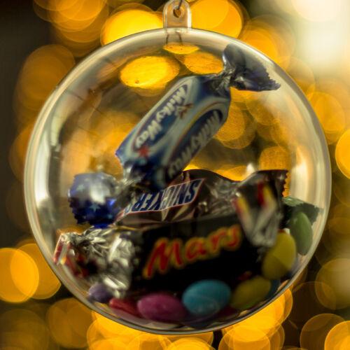 X10 clair Baubles vide à remplir Arbre de Noël décorations 100mm Ornement Cadeau