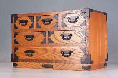Japanese Vintage KOTANSU Wood Small Chest 6 drawers KEYAKI 232a30