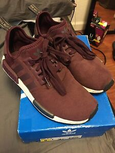 Image is loading Adidas-NMD-R1-Burgundy-Maroon-Suede-Rare-S75231- 34a50de18